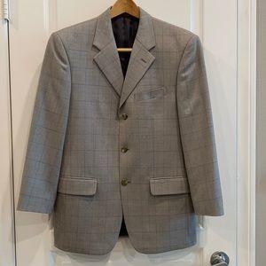 Mens Jones New York Gray 100% Wool Blazer Size 36S